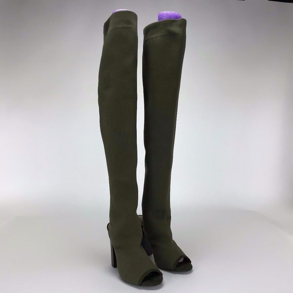 0bfed6d2ef2 BAMBOO Women s Olive Knit Peep Toe Boots